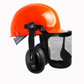 """Casco Seguridad acoplado con Protector auditivo y Pantalla con visor de malla sintética 6 """"- CPT 166"""