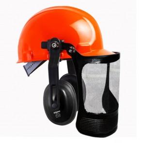 """Casco Seguridad acoplado con Protector auditivo y Pantalla con visor de malla sintética 8 """"- CPT 168"""